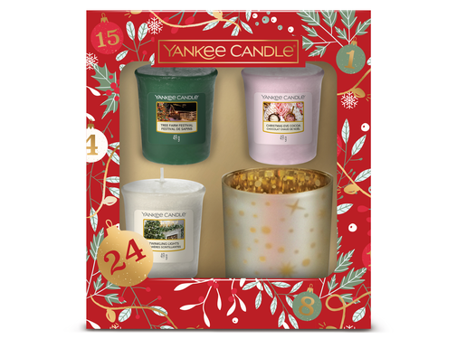 Yankee Candle Countdown To Christmas 3 Votives & 1 Holder Gift Set