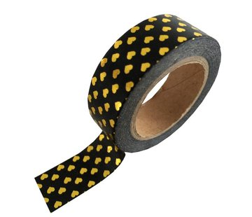 Stationery Masking Tape - Black Gold Hearts
