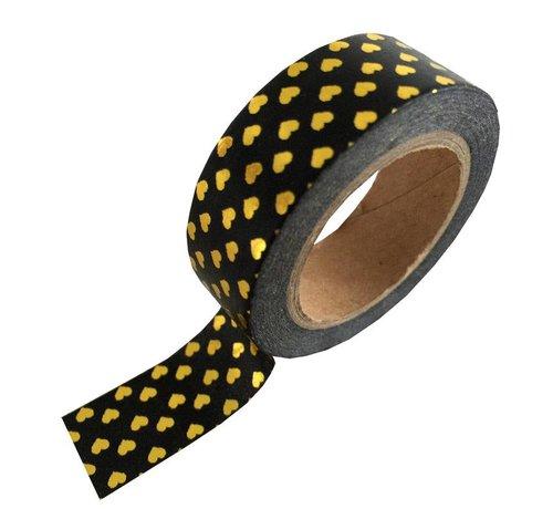 Stationery Masking Tape - Black Gold Hearts