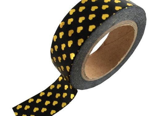 Studio Stationery Masking Tape - Black Gold Hearts