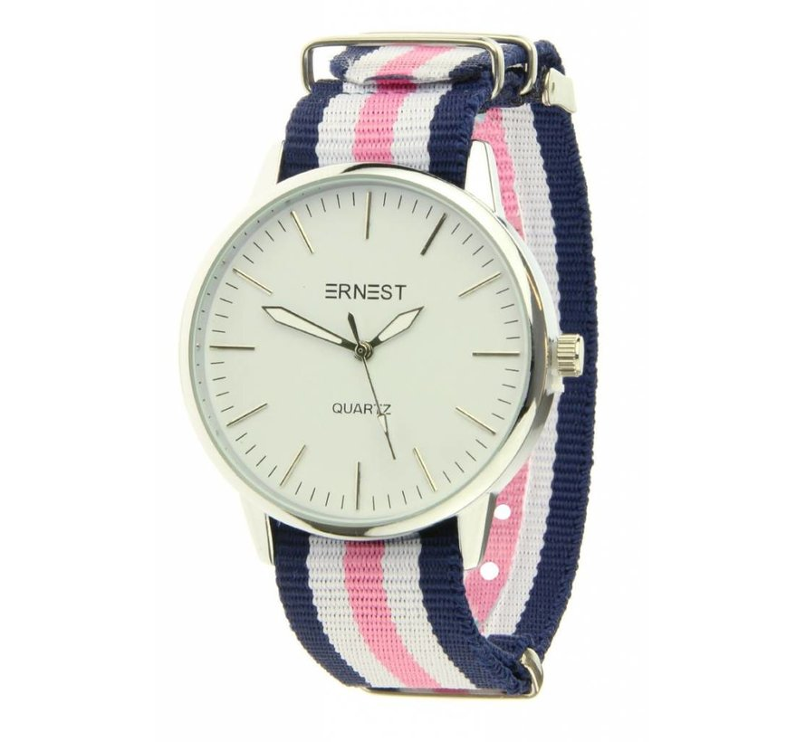 Striped - Blue White Pink