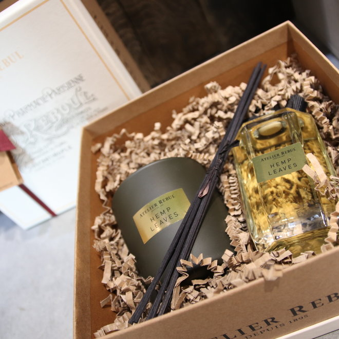 giftbox hemp leaves geurstokjes kaars