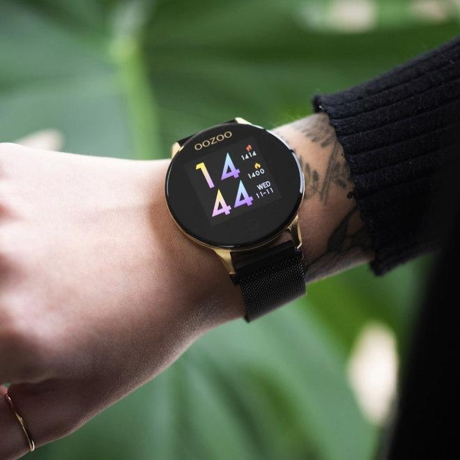 Oozoo smart watch rubber bandje goud/zwart