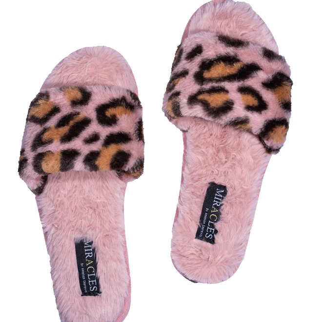 pantoffels miracles luipaard roze