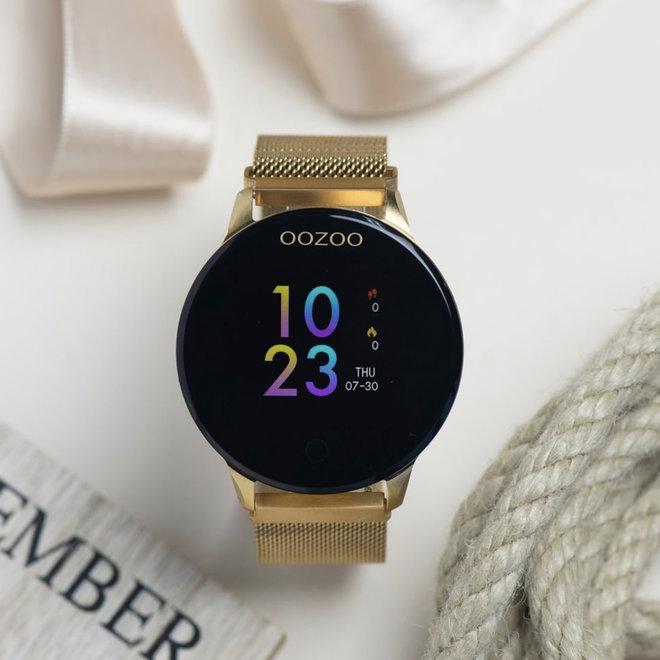 Oozoo smart watch full gold mesh