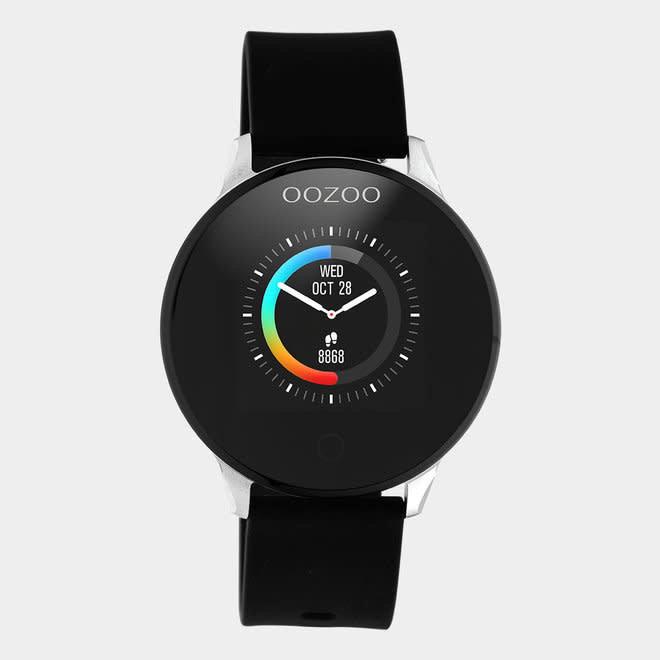 Oozoo smart watch rubber bandje zilver/zwart
