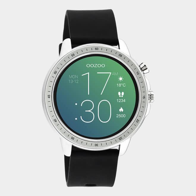 oozoo smartwatch unisex rubber horlogeband zwart/zilver