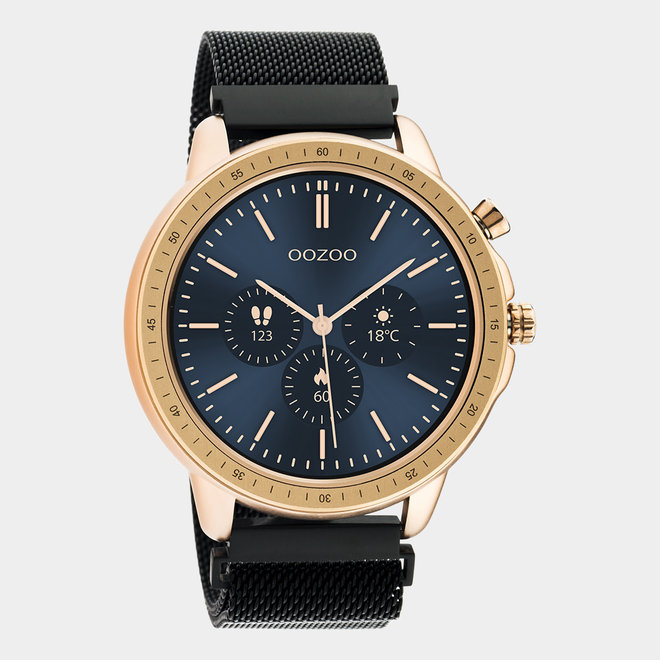 oozoo smartwatch unisex mech horlogeband zwart/rose