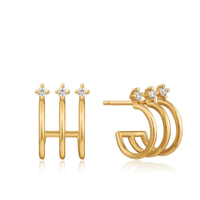 triple mini hoop stud earrings e023-04