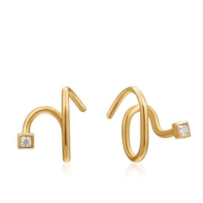 twist square sparkle earrings e023-06