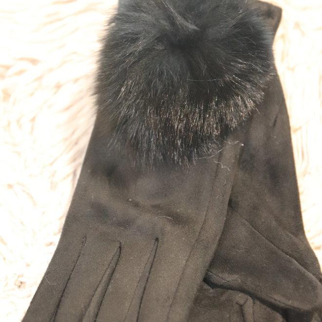 handschoen zwart met bol