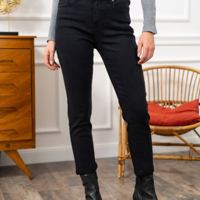 r display relax hoge taille zwart jeans d1025