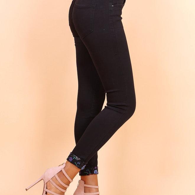 toxik jeans normale  taille hl3051 zwart met fantasie boord