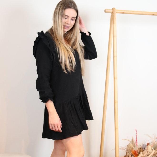 kleedje zwart effe met frull aan mouw 2262