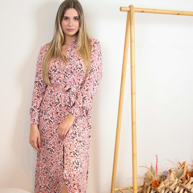 maxidress kl255x-8 roze met bloempje