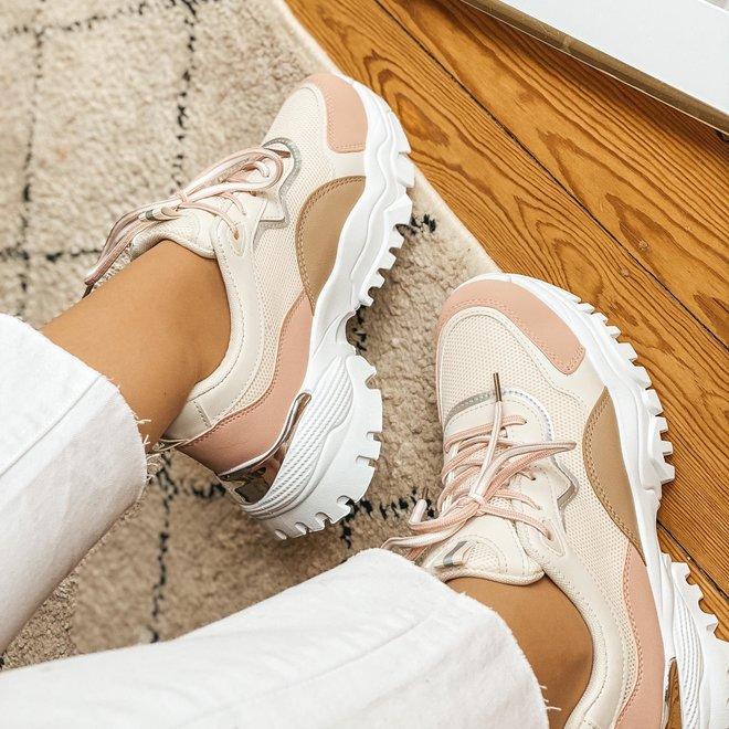6129 sneaker roze/wit /beige
