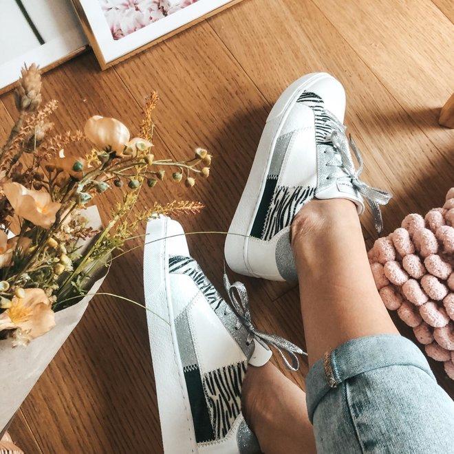 sneakers wit  zilver zebra FY0388-2
