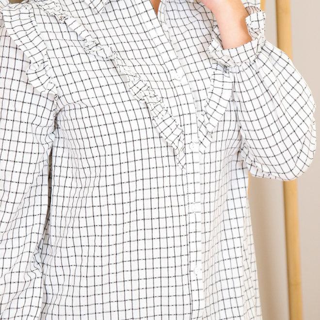 geruit hemd kleedje met frul vooraan 2320
