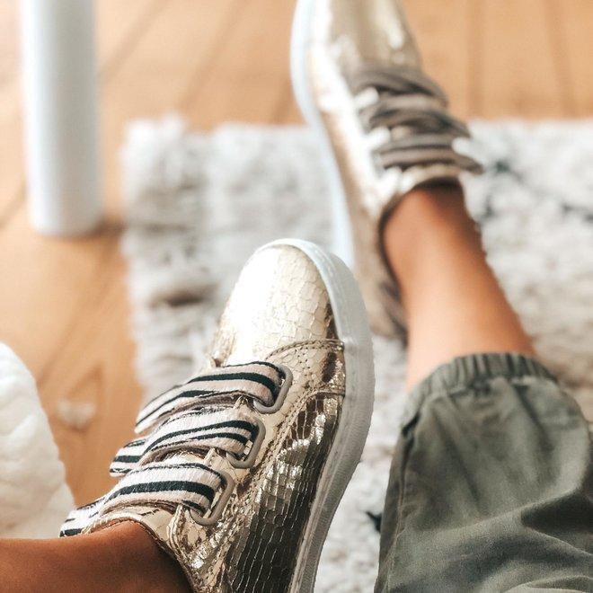 sneaker gold met plakkers zebra HY0675