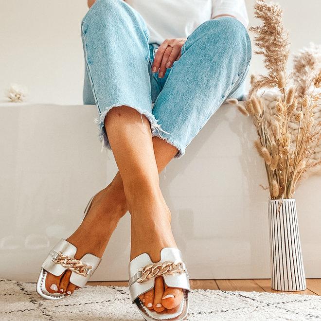 slippers open met kleine ketting 55-45