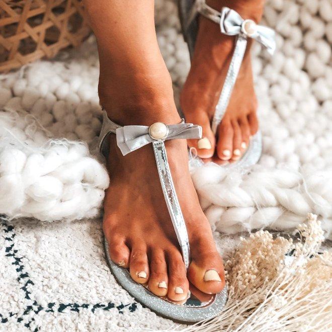 slippers met strikje en pareltje p-816