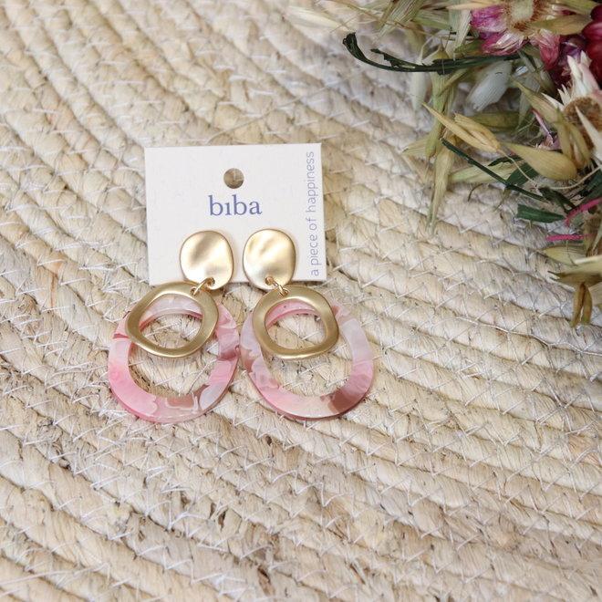 oorbel biba ovaal met gouden los ringetje in het midden 81972