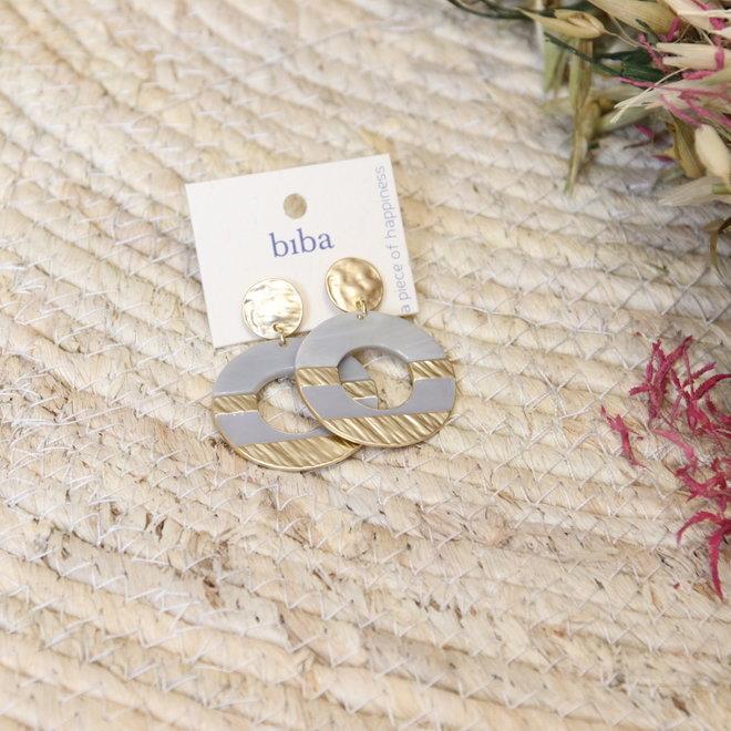 oorbel biba ronde cirkel met goud in verwerkt 8196