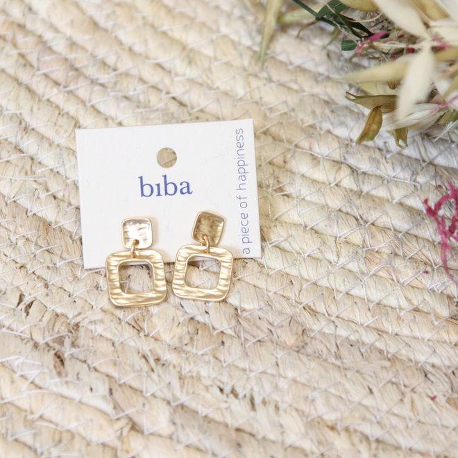 oorbel mini vierkant en druppel goud 81985 81984