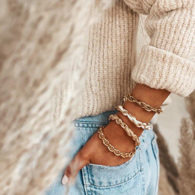 armband leder met goud 53952