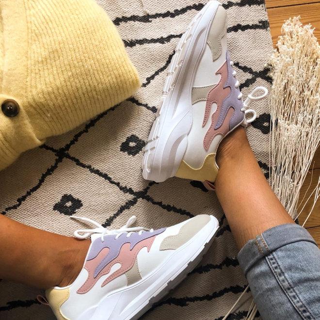 sneaker lila/roze/geel/wit 6109