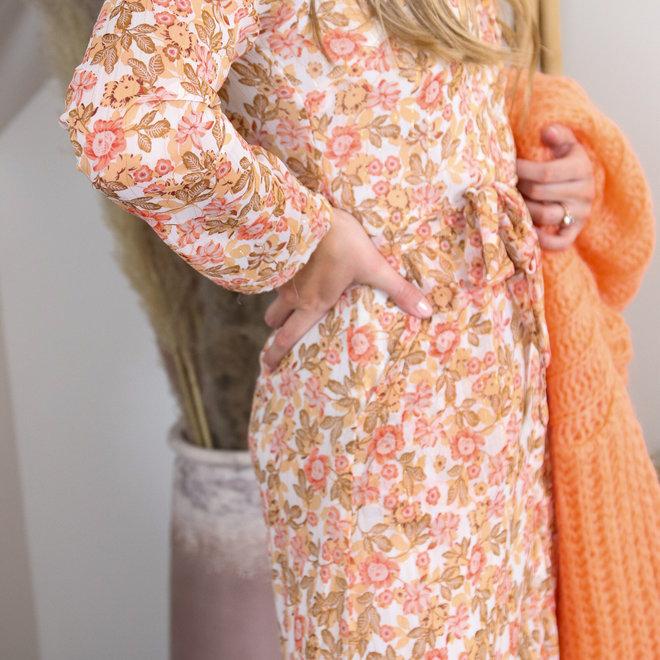 dress taupe oranje bloempje 010008