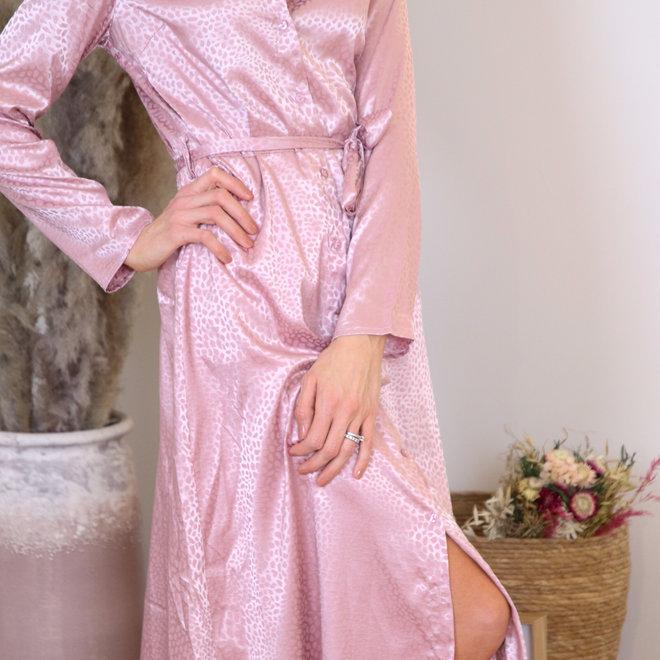 maxidress toon op toon vlekje roze 010005