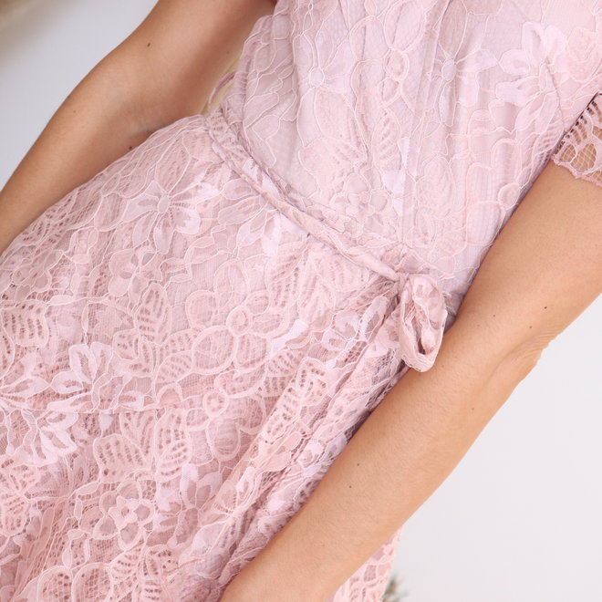 short pink lace dress miracles 010006