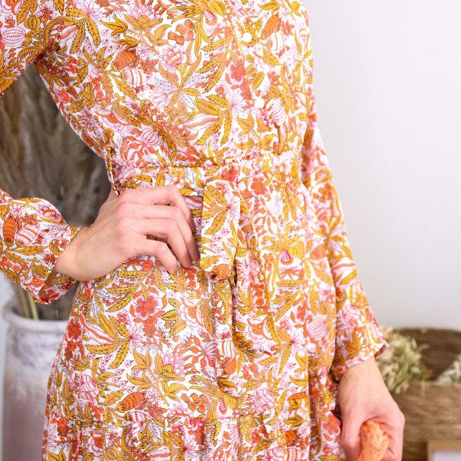 maxi dress roest gebloemd 010010