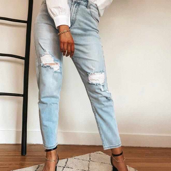 lichte  jeans r display met scheuren momjeans  d1303