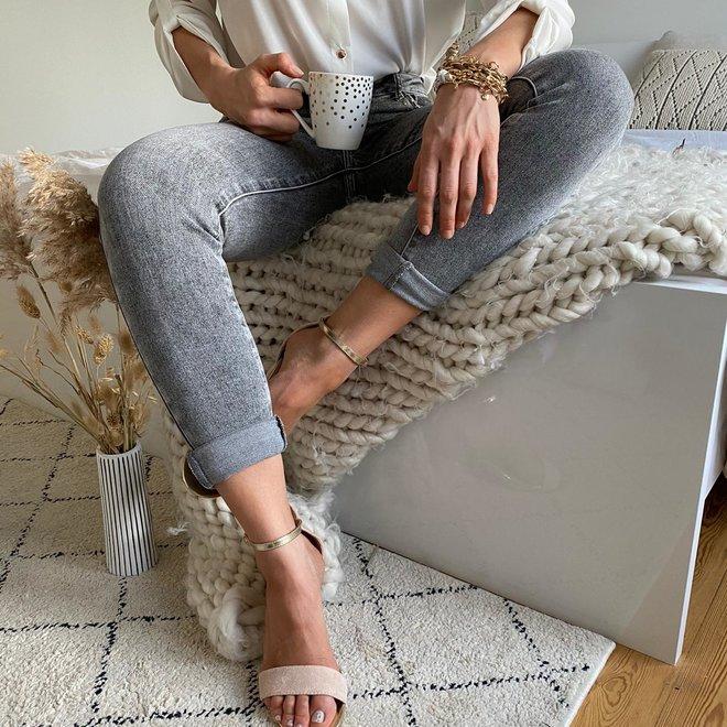toxik  jeans grijs met studs normale taille skinny G20606