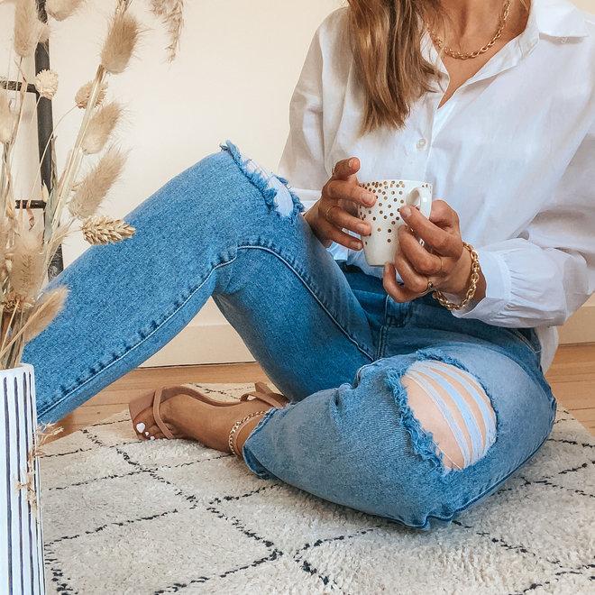 toxik jeans mom relax met scheuren op knie L20069-1