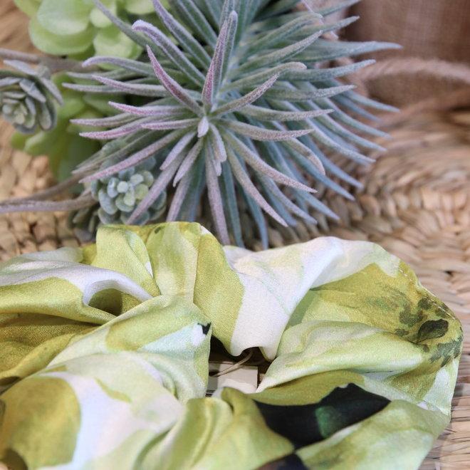 haarbandjes gras groen satin met ecru
