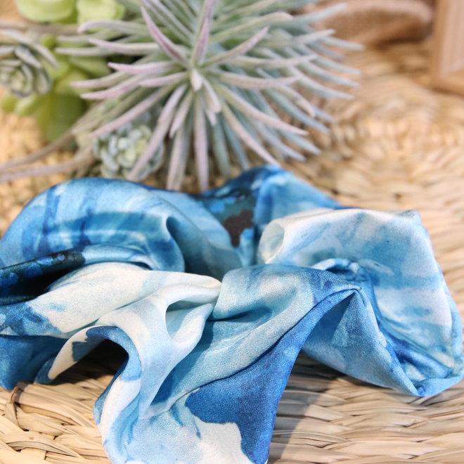 haarbandjes satin ecru blauw gewolkt