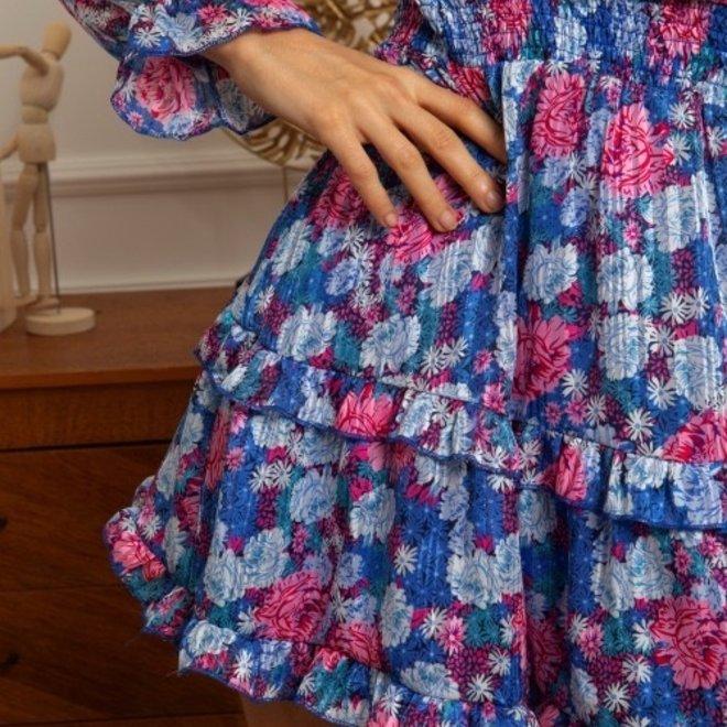 kleed blauw fusia bloem 2293