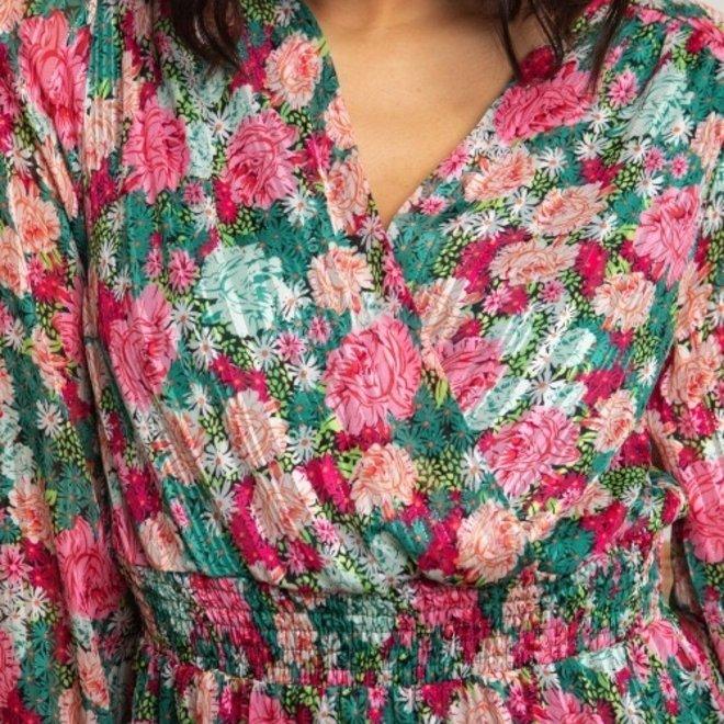 kleed groen  fusia bloem 2293