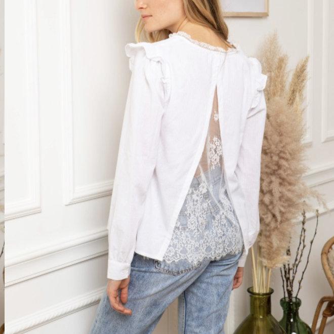 wit hemdje met kant open rug 2311