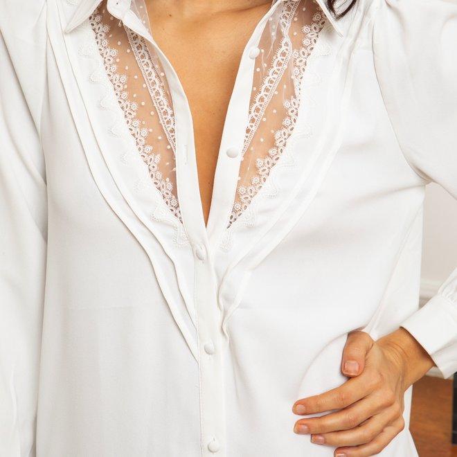 kleed wit met doorzichtige v nek. ap-2327