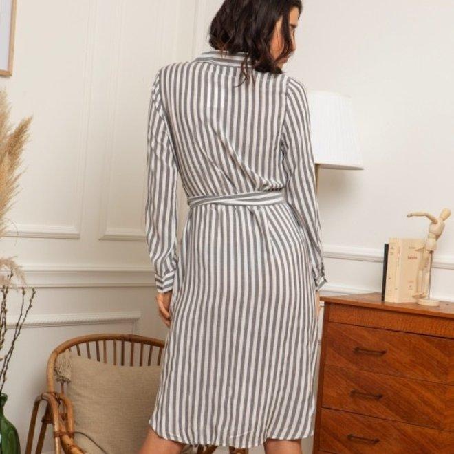 kleedje wit/ grijs gestreept ap-572