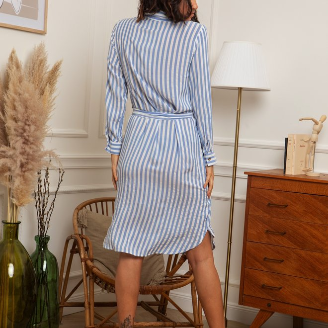 kleedje wit/ blauw gestreept ap-572