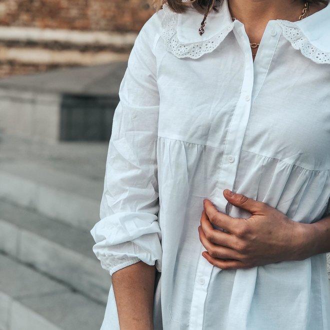 kleedje hemdsmodelletje met kraagje ap-1179 wit