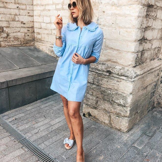 kleedje hemdsmodelletje met kraagje ap-1179 blauw