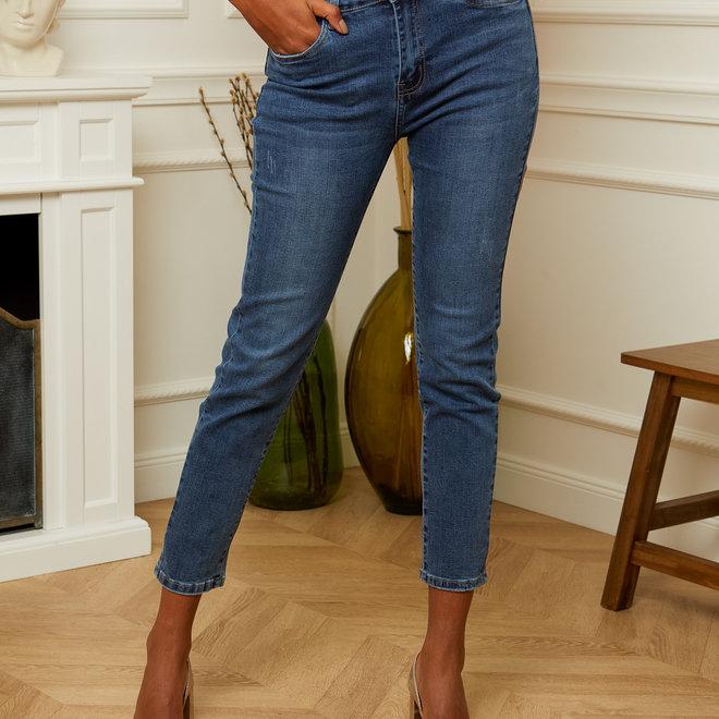 jeans donker mom kleine scheurtjes d1206