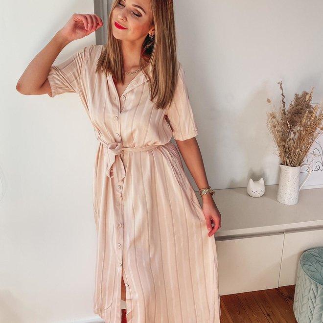 mididress roze met beige streep H1922