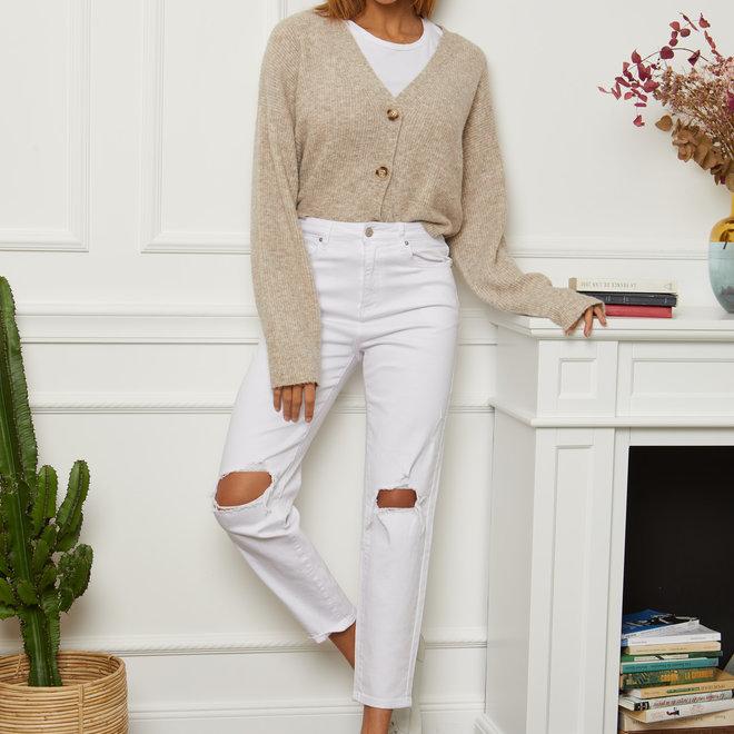 witte jeans met scheuren relax d1093